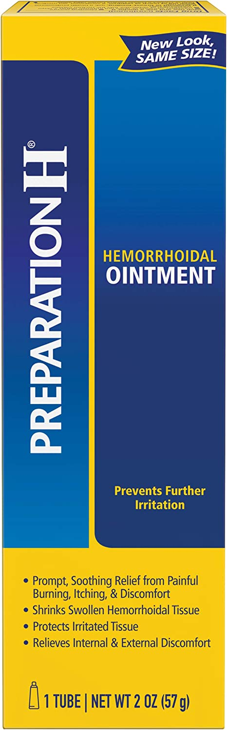 Preparation H Hemorrhoid Symptom Treatment Ointment, Itching, Burning & Discomfort Relief, Tube (2.0 oz)