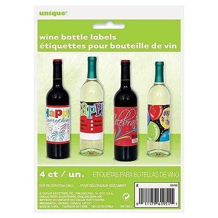 Feliz cumpleaños vino botella etiquetas, 4 ct