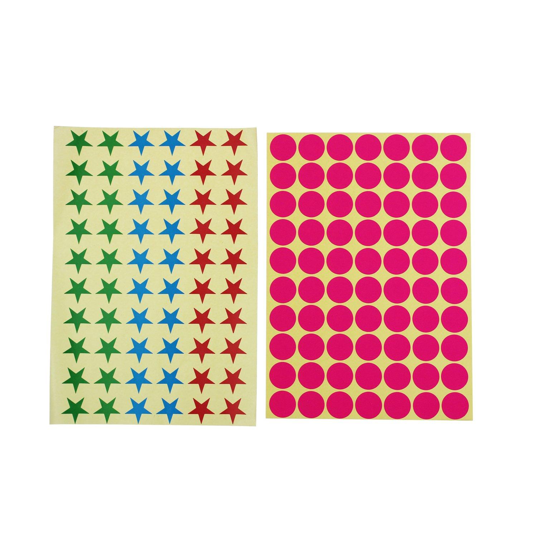 Stern geformte Sticky Farbe Codierung Etiketten herausnehmbare Kleine Kreis Aufkleber f/ür Klassenzimmer Organisation Dekorationen Yard Sale Kalender Planer 19mm rund Dot