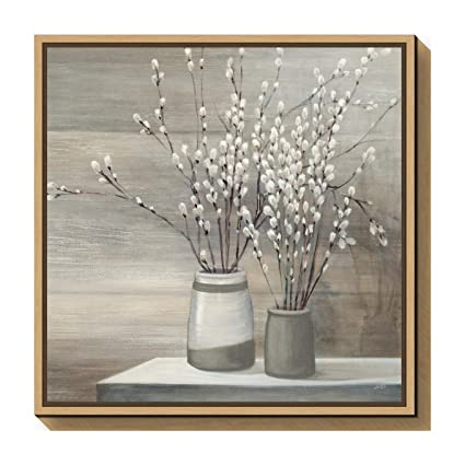 5dd128521 Amazon.com: Amanti Art Pussy Willow Still Life Gray Pots Crop by Julia  Purinton Canvas Art Framed, 22 x 22, Maple: Posters & Prints