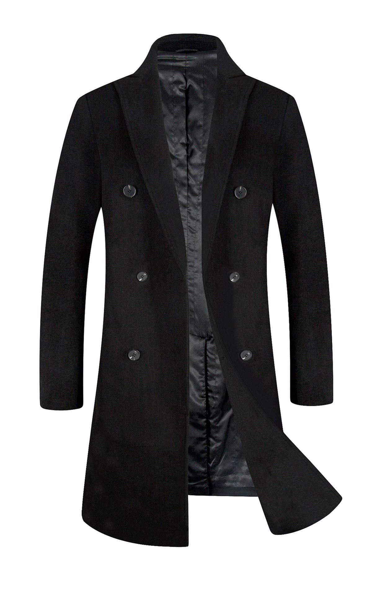 Men's Trench Coat Wool Blend French Long Jacket Thicken Business Top Coat Double Breasted 1802 Black XL by ELETOP