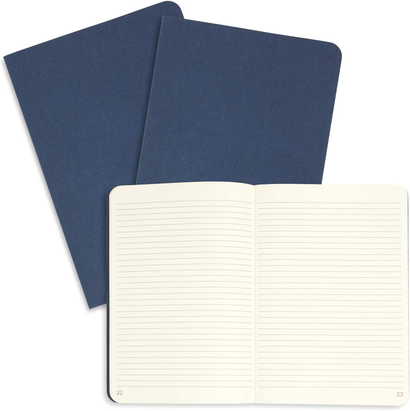 """3 Pack Journal Set with Lined Paper 64 Pages Blue Summit Supplies Executive Journals Lightweight Travel Journal with Dark Blue Linen Cover Set of 3 9/"""" x 6/"""""""