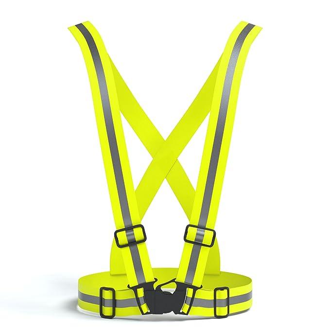EAZY CASE Gurt Reflektorweste, durchgehende, elastische Reflektorsteifen, flexibel einstellbar I Warnweste mit Reflektoren I