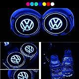 7to7 Led車のロゴカップホルダーパッド防水ボトルドリンクコースタービルトインライト7色変更usbマットledカップマット車の雰囲気ランプ2ピース (Volkswagen)