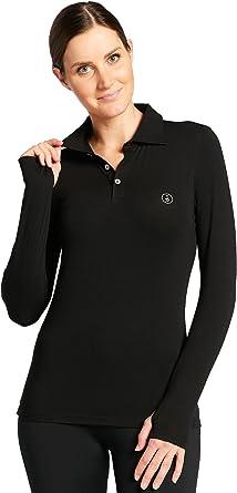 Solbari UPF 50 Women's Sun Protection Long Sleeve Polo Shirt - UV Protection, Sun Protective