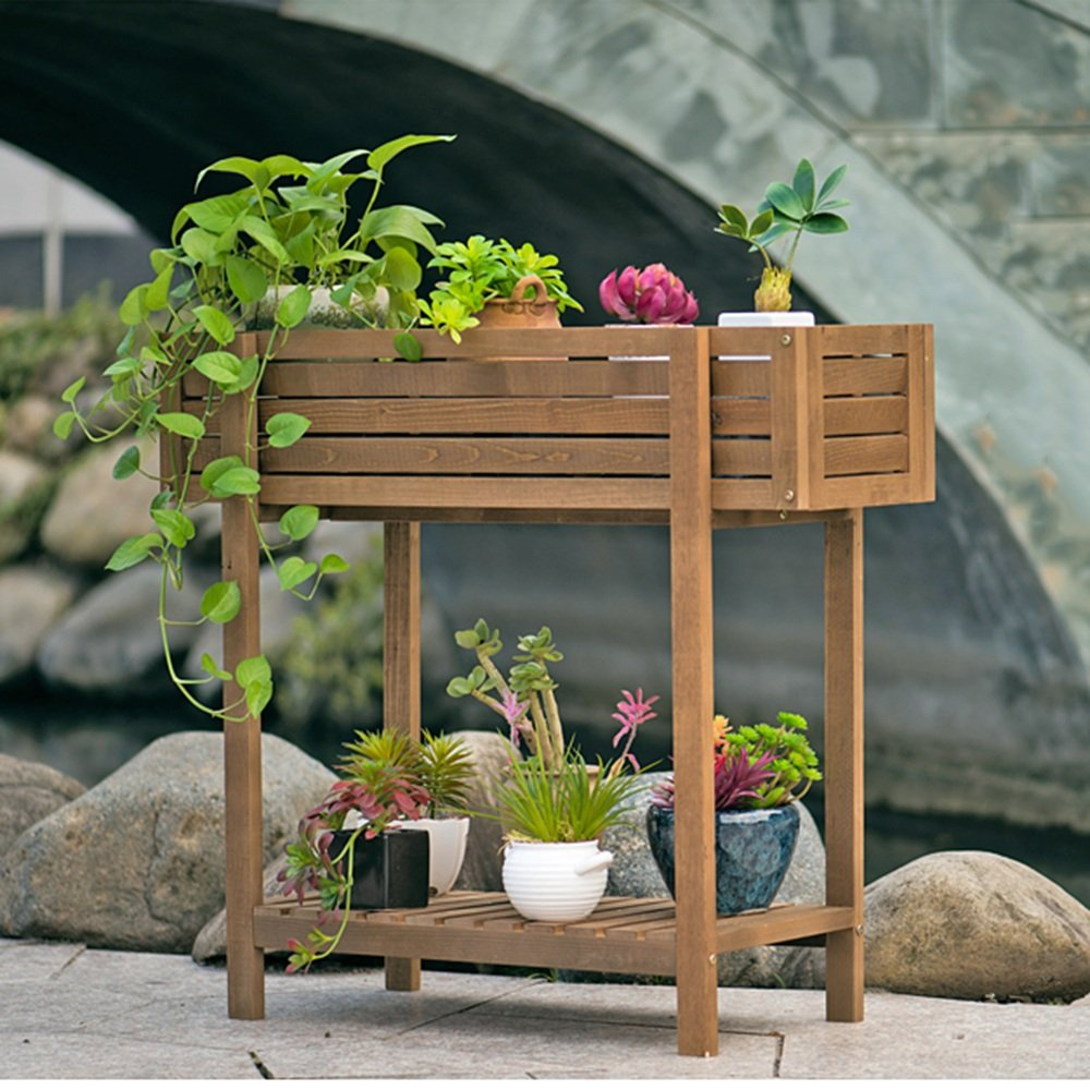 LJHA huajia Slot Type Solid Wood Flower Rack Balcony Floor Wood Flower pots Living Room with Extravagant Flowers (Size Optional) by GYH Flower stand