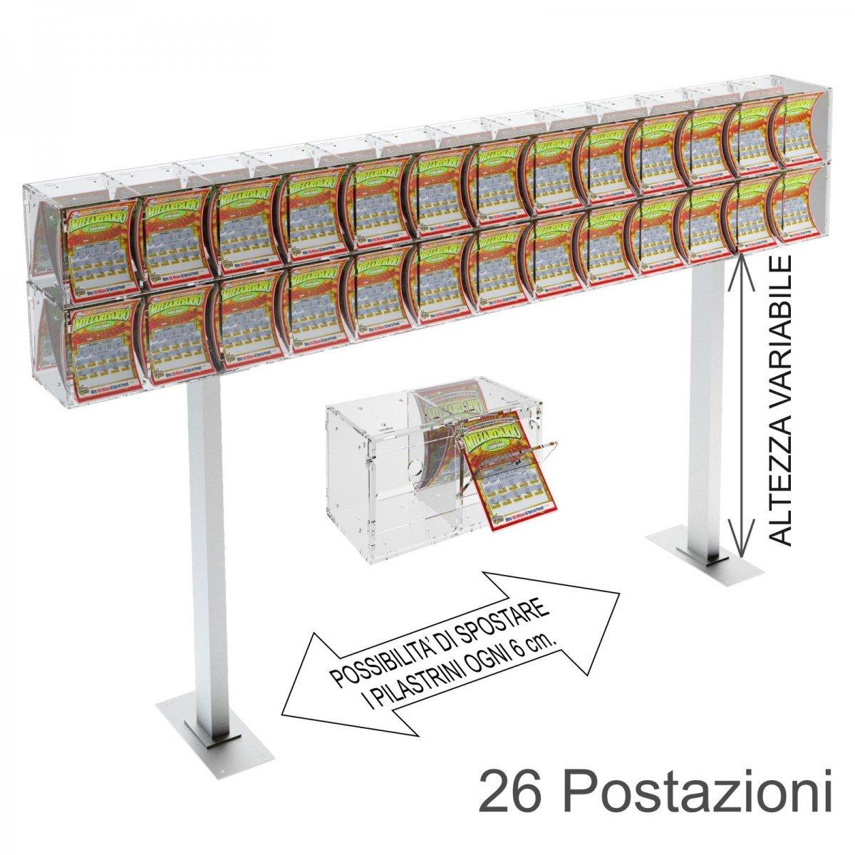 Espositore gratta e vinci da banco in plexiglass trasparente a 26 contenitori munito di sportellino frontale lato rivenditore