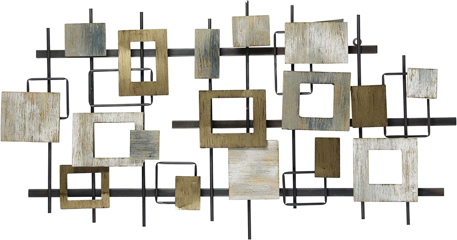 Stratton Home Decor Wood and Metal Modern Shapes Centerpiece Wall Décor, Extra Large, Multi Color