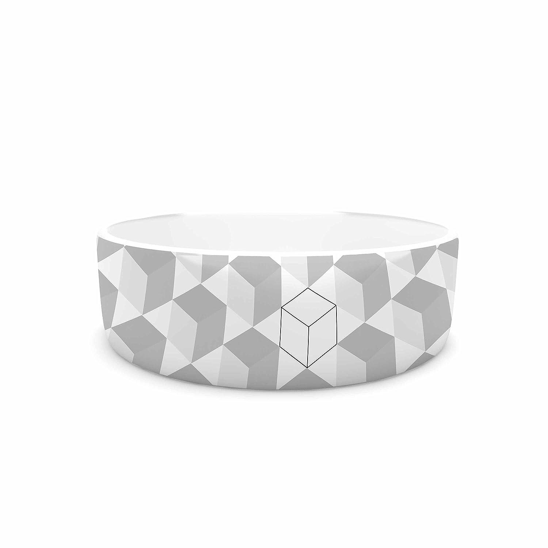 KESS InHouse KESS Original Greyscale Cubed  White Geometric Pet Bowl, 7