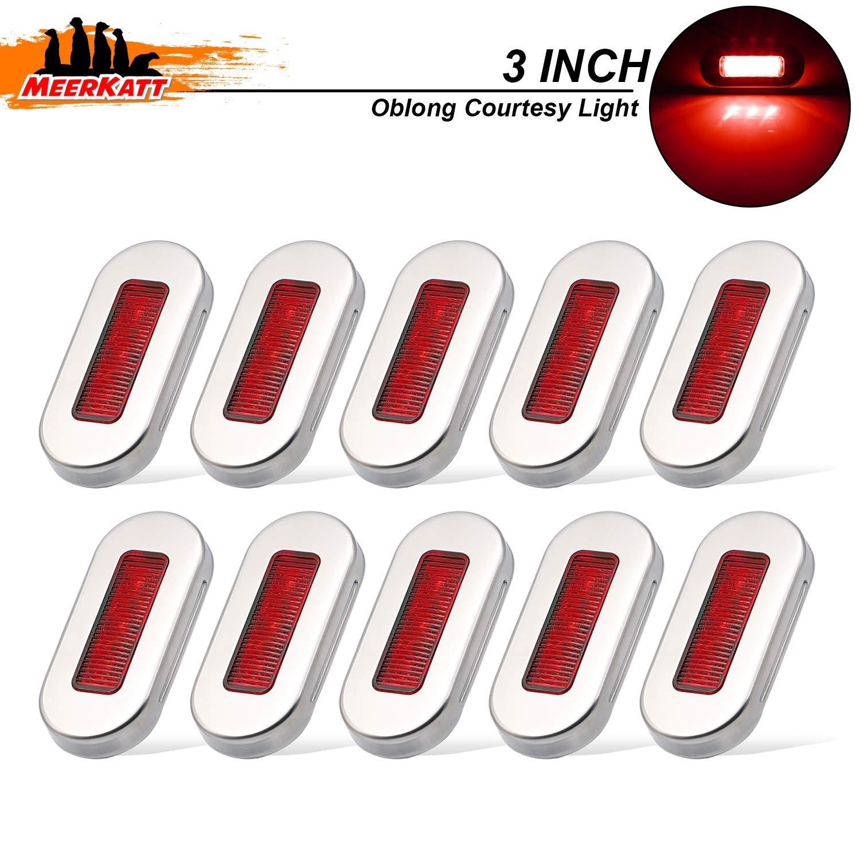 Meerkatt (Pack of 10) 3 Inch Red LED Interior Exterior 3-2835 SMD Courtesy Lights with Chrome Bezel Stainless Oblong Marine Lamp for Deck Yacht Barge Cabin Car Trailer RV 12V DC Water Resistant UV12 by Meerkatt