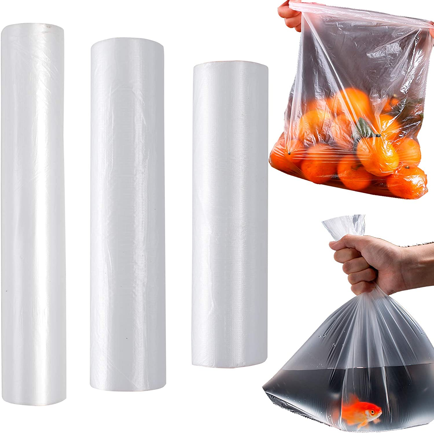 Plastic Produce Bag on a Roll Clear Plastic Bags Polyethylene Bags Plastic Storage Bags for Food, Fruit, Vegetables, Meat, Pet Bags, Diapers Bags One Roll 80 Bags (3 Roll)