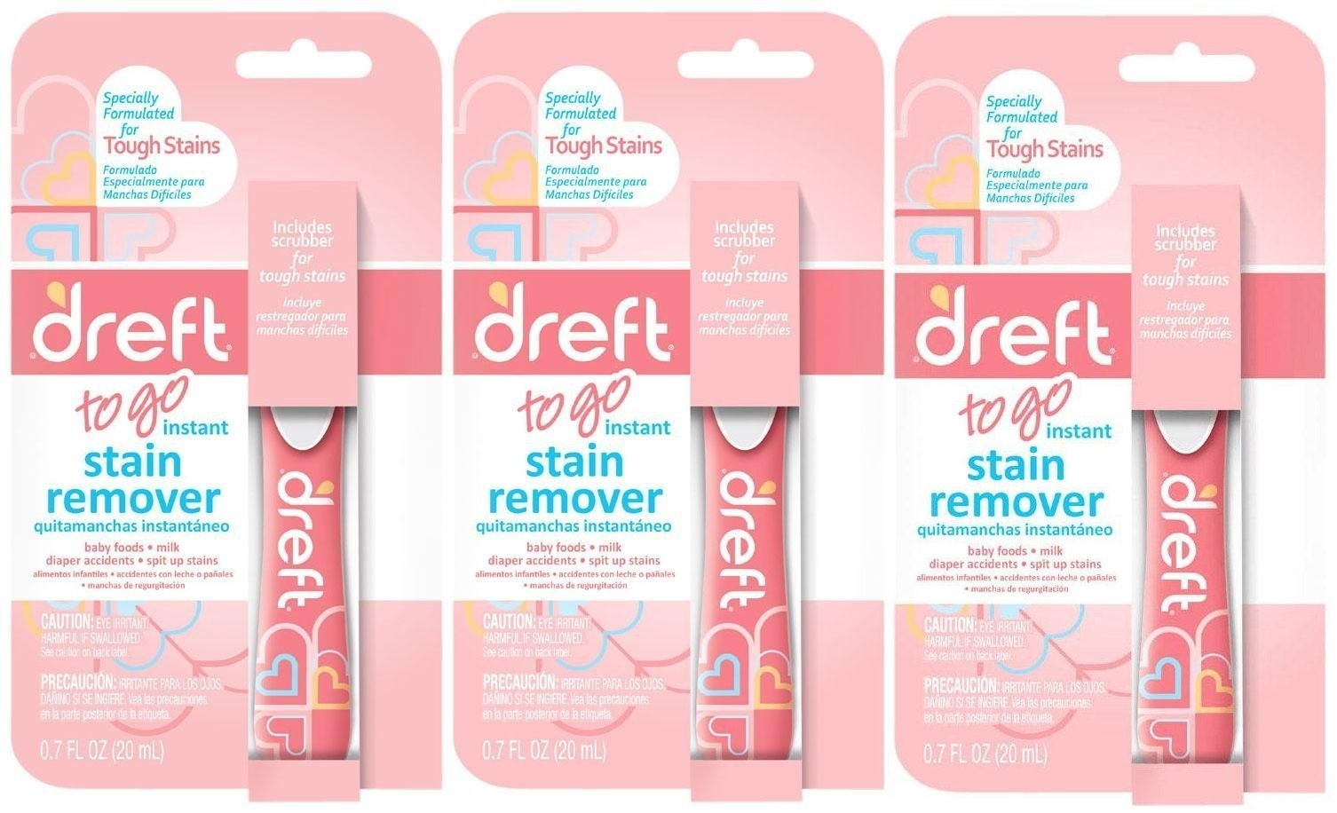 Dreft Baby Laundry Instant Stain Remover Pen, 0.7 Fluid Ounce (Pack of 3 Travel To-Go Pens) by Dreft