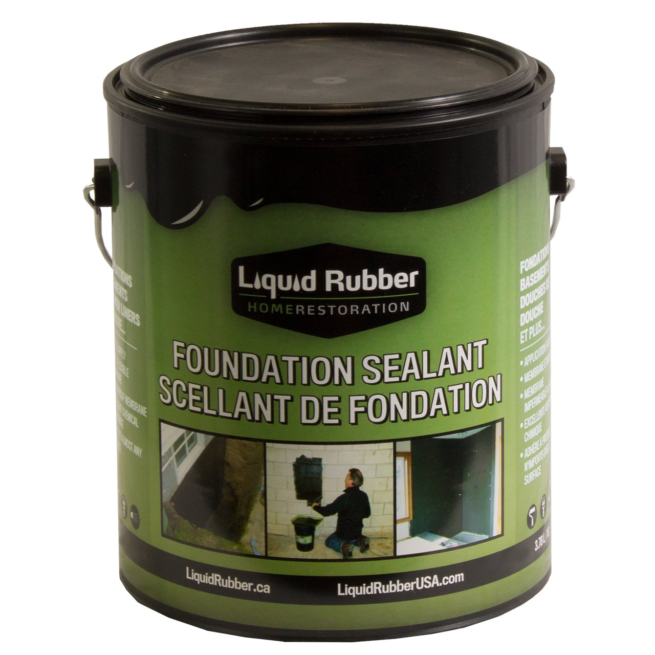 Liquid Rubber Foundation Sealant/Basement Coating - 1 Gallon - Black - Environmentally Friendly - Water Based - No Solvents, VOC's or Harmful Odors - No Mixing - Fix Leaks and Cracks - TOP SELLER by Liquid Rubber USA