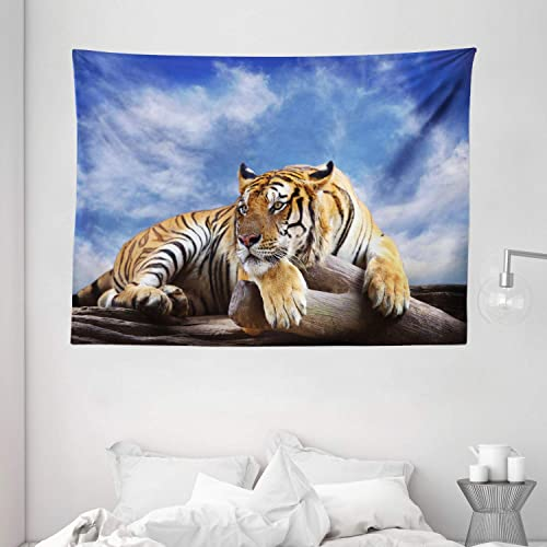 Ambesonne Safari Tapestry, Tiger Sitting on Wood Clear Blue Sky Wildlife Morning Stripes Predator Print, Wide Wall Hanging for Bedroom Living Room Dorm, 80 X 60 , Mustard Black