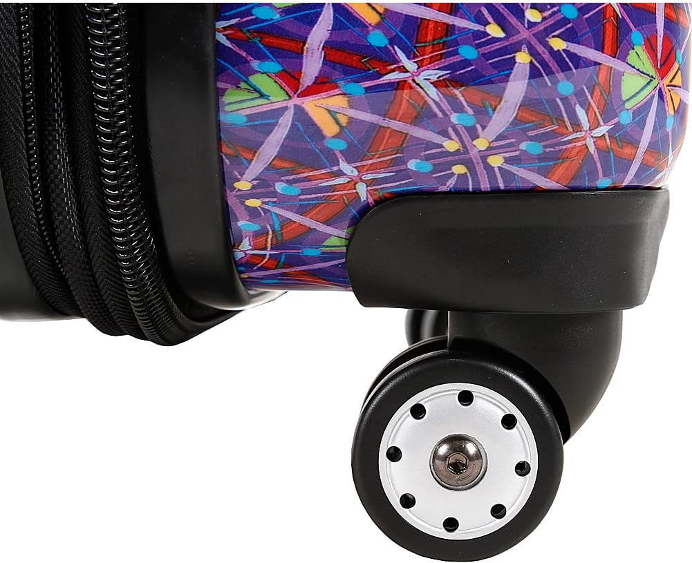 J World Titan Art Collection Squares Polycarbonate Hardside Spinner Upright Suitcase