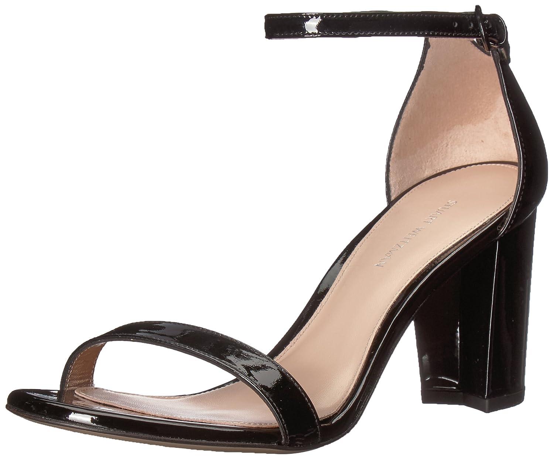 Stuart Weitzman Women's Nearlynude Heeled Sandal B072JN2LQR 5 B(M) US|Black Patent