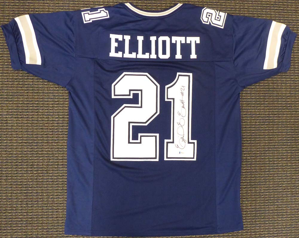 d1286aec1 Dallas Cowboys Ezekiel Elliott Signed Auto Blue Jersey - Beckett Authentic  at Amazon's Sports Collectibles Store