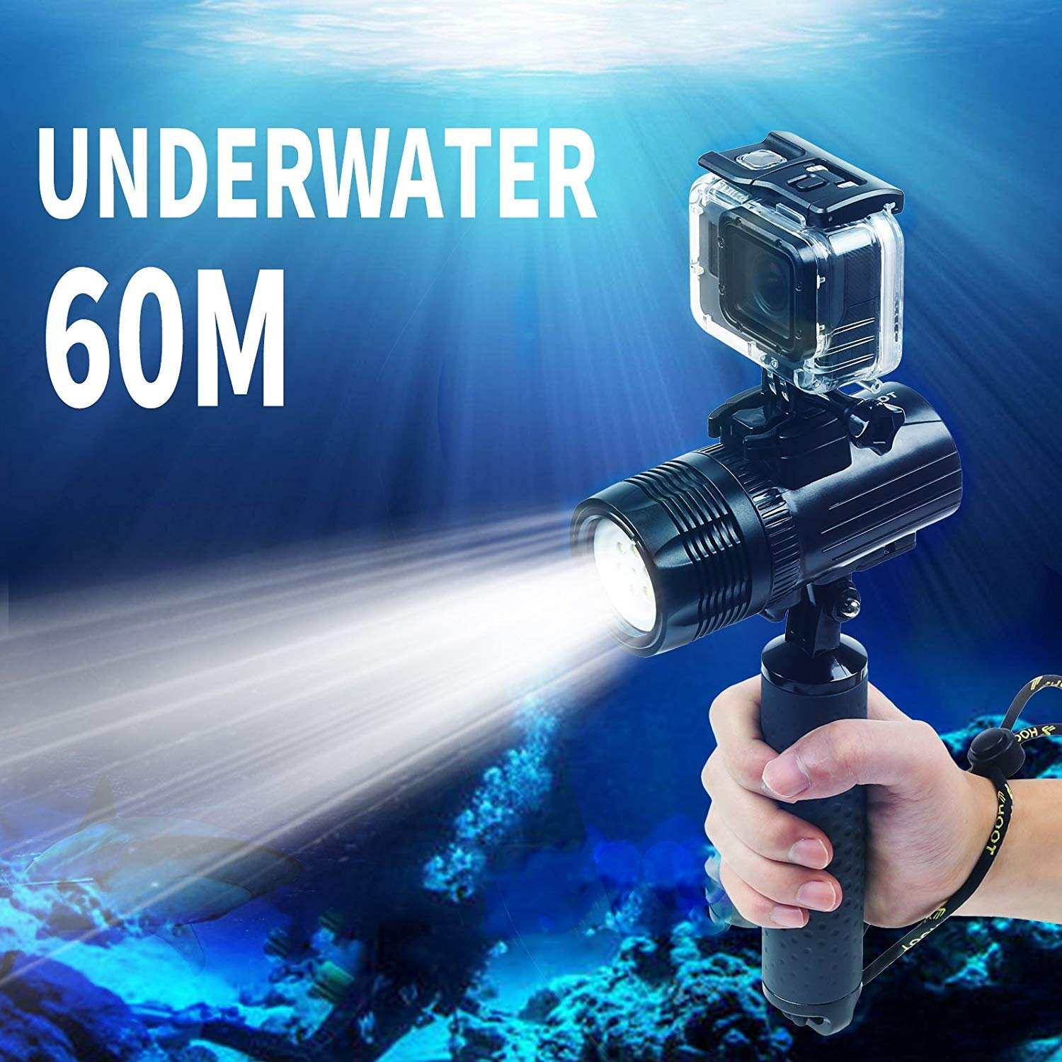 SHOOT Handheld Flashlights Torch GoPro Hero 7 Black Silver White/6/5/4/3+/3, Waterproof Digital Camera, 1000LM, Waterproof 60m, CREE XM-L R3, 120° Wide, 2000mAh Rechargeable Battery Float Bar Diving, Cycling, Night Fishing Must Have Accessories