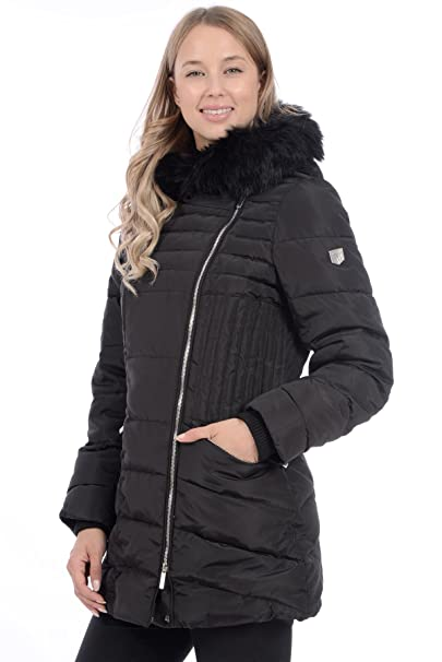 a1a960f87dc RedX Canada Women s Mid Length Polyfill Winter Coat with Faux Fur Trim on  Hood (Black