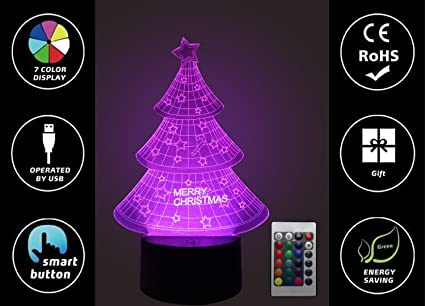 3D Illusion LED Night Light Christmas Tree, 3D Optical Illusion ...
