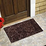 YAZLYN COLLECTION Polyester Anti Skid Feature Bathroom Kitchen Door Mats for Home, 16 X 24 Inches, Brown