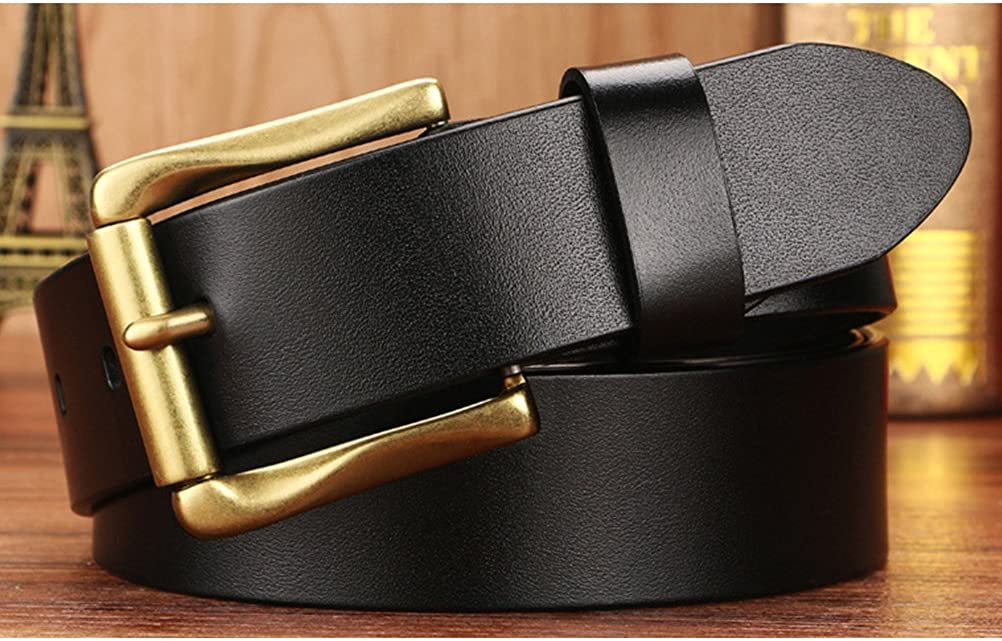 Zhhlinyuan Mens Black Brown First Cowhide Leather Pin Buckle Belt 37mm Wide