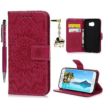 Geniric Flip Handy Hülle für Samsung Galaxy S6 Leder Wallet Cover Stand Case Card Slot Tasche Karteneinschub Magnetverschluß
