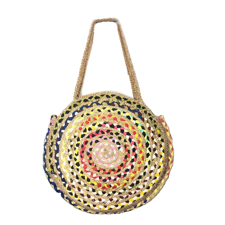 Magid Jute Woven Oversized Circle Tote Beach Bag, Multi