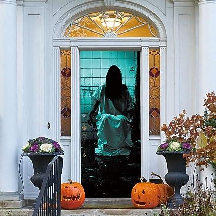 Halloween Scary Door Covers 30\u0027\u0027x78\u0027\u0027 Waterproof Halloween