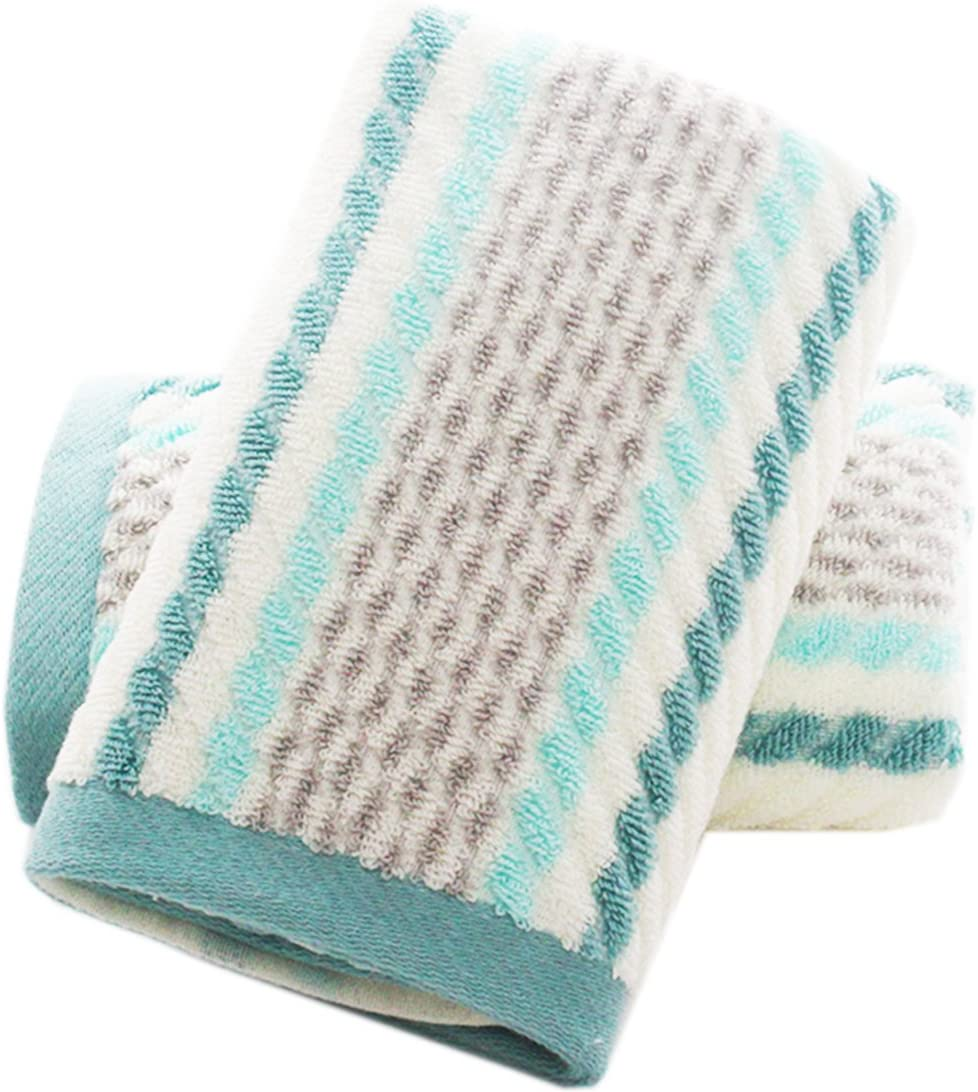 Pidada Hand Towels Set of 2 Striped Pattern 100% Cotton Super Soft Highly Absorbent Hand Towel for Bathroom 13 x 28 Inch (Green)