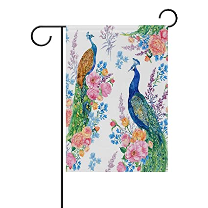alaza garden flag yard decoration beautiful birds peacocks blossming flower double sided decor home