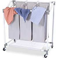 3-Section Laundry Sorter Basket, Heavy Duty Rolling Laundry Hamper Cart with Removable Bags for Clothes Storage