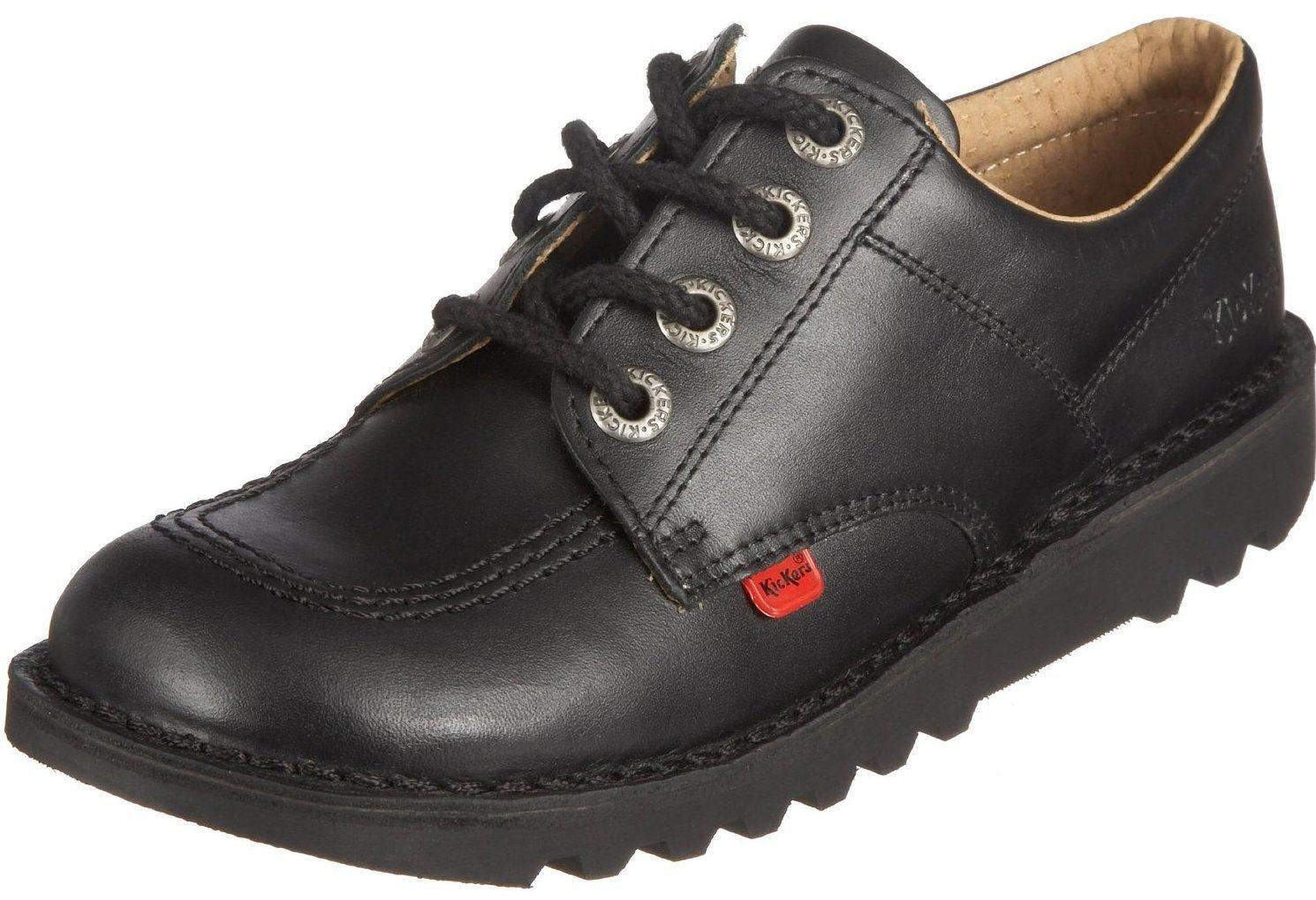 Kickers Kick Lo Core Black Leather Unisex Lace Up School Shoes-36