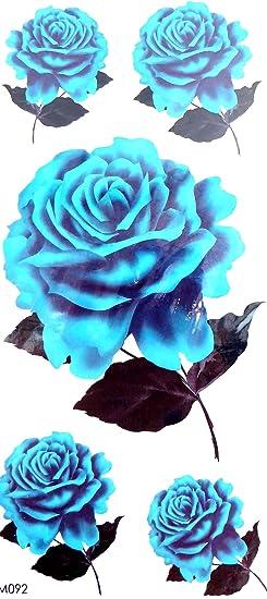 Amazon.com: blue rose flower temporary tattoo sticker: Clothing