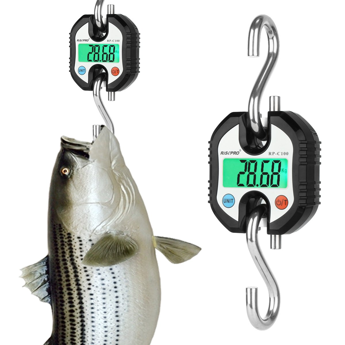 Hanging Scale, RISEPRO Digital Professional Hanging Scale W/Accurate Sensor for Luggage Fishing Construction Hunting Balance Pocket Crane 150kg W/Backlight RP-C100
