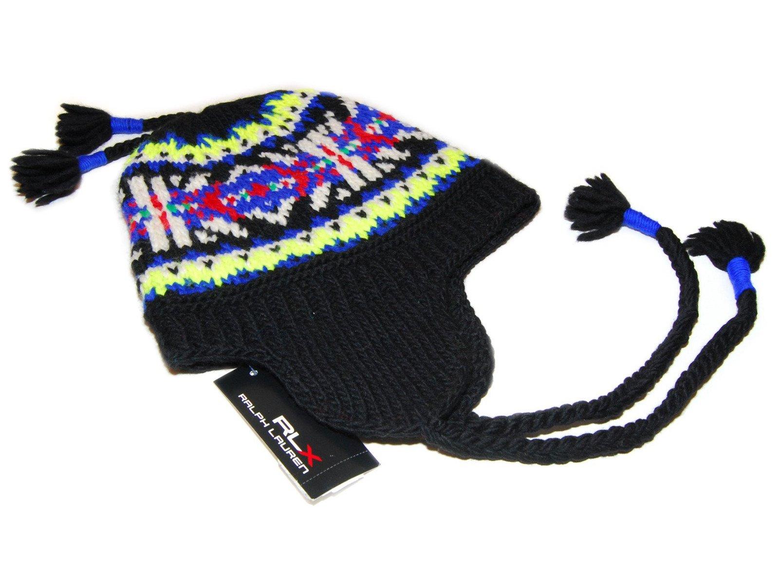 Ralph Lauren RLX Mens Womens Wool Ski Skull Knit Hat Cap Black Yellow Blue Red