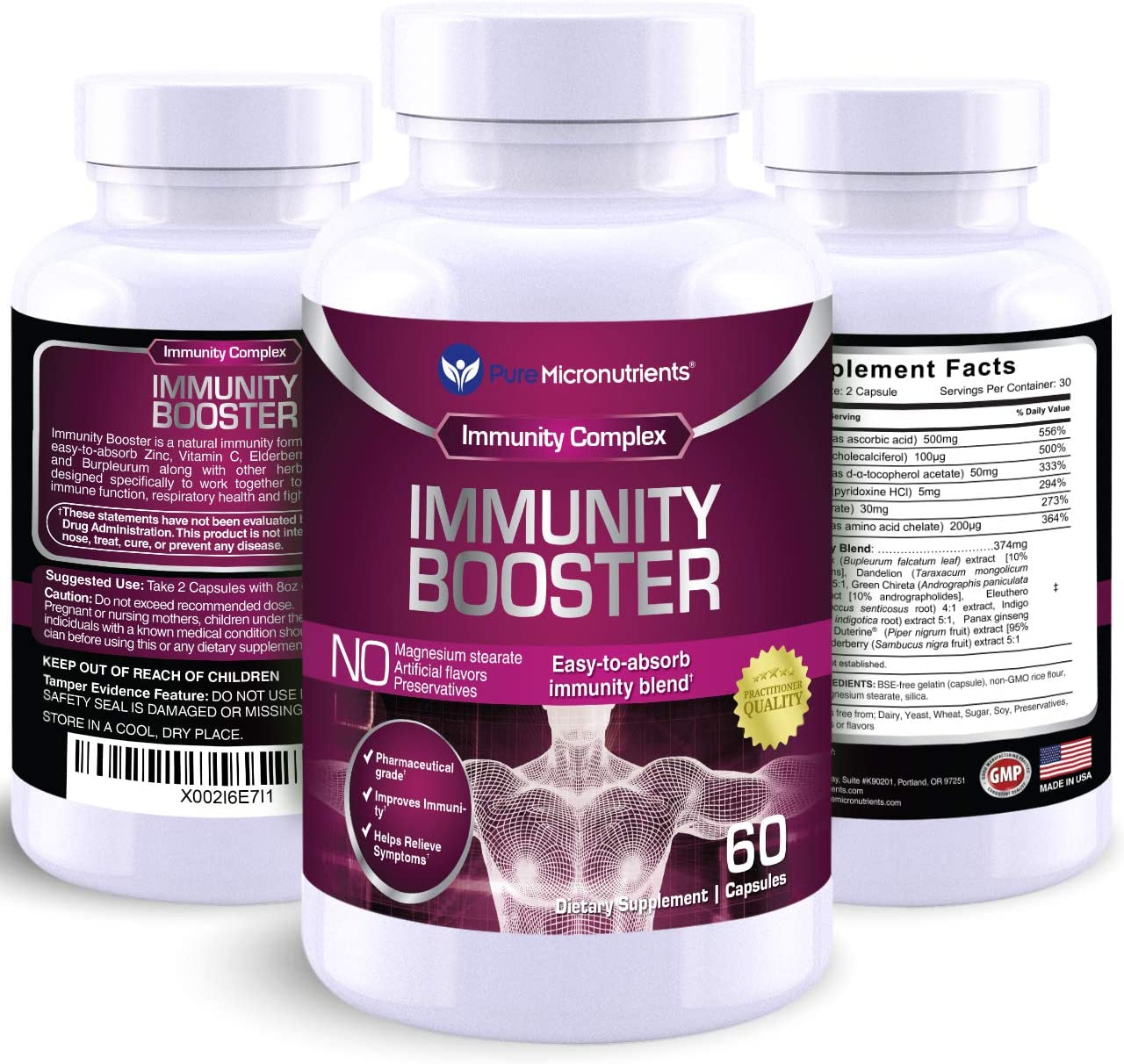 Immunity Booster Vitamins - Zinc, Elderberry, Andrographis, Vitamin C, B6, D E Multivitamin for Immune Support - Powerful Antioxidant - Body Defence Supplement - 60 Cap - Pure Micronutrients