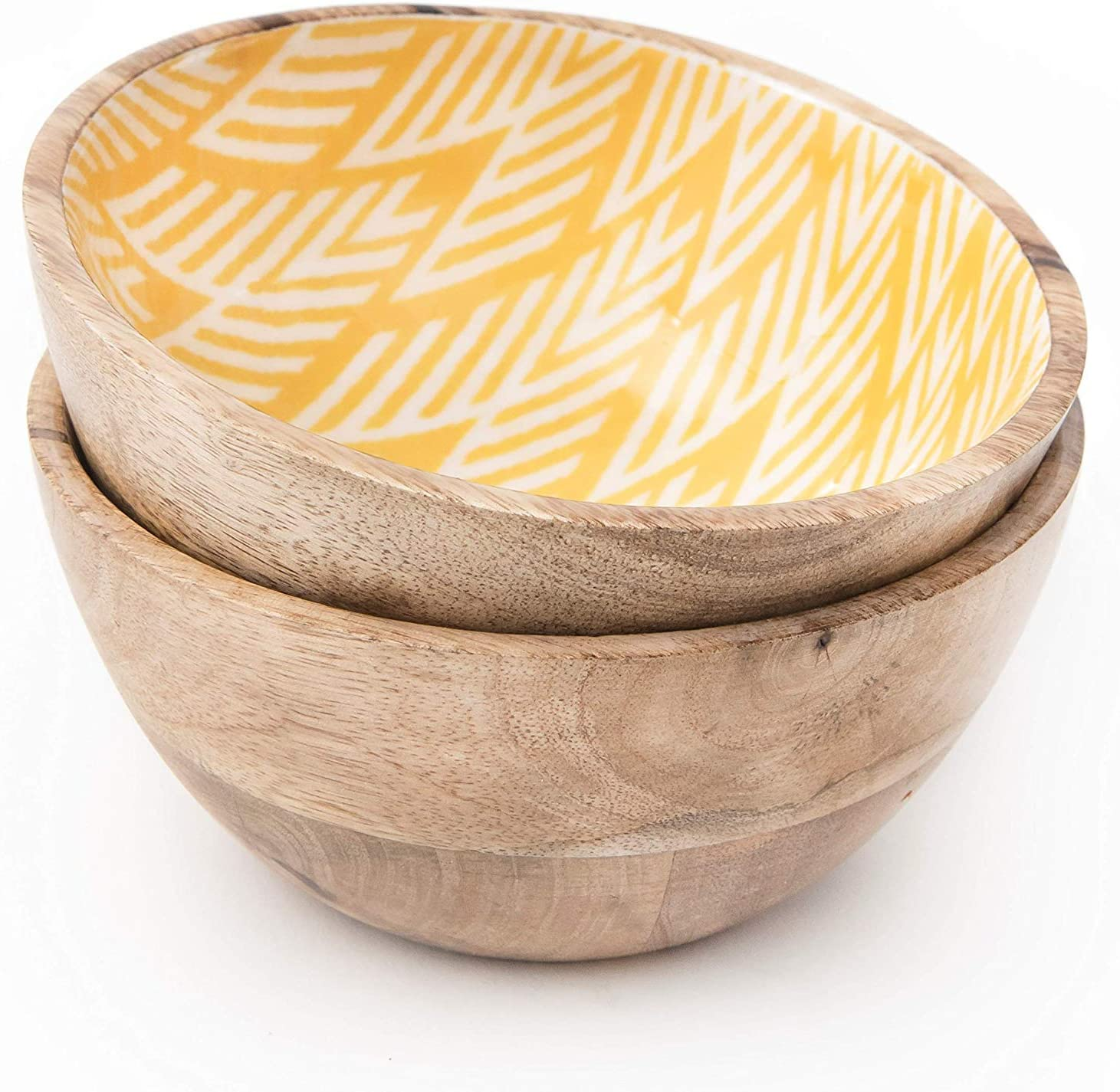 Wooden Bowls for Food or Salad Bowls Set, Small Bowl for Serving Pasta and Cereal, Set of 2 Wood Bowl, 6 inch by 3 inch, Mango Wood, Yellow Ikkat