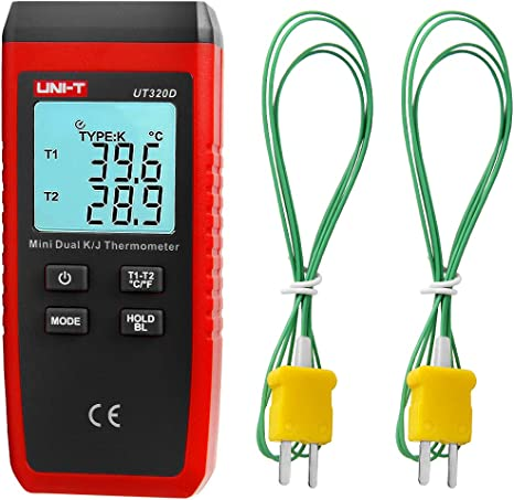 Nero e Rosso 1 Pz Mini Contatti Tipo Termometro UT320A UT320D Termometro Termocoppia Mini Contatto Termometro K//J Termometro UT320A singolo canale