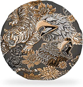 Soft Round Chair Pad Cool Tiger Eagle Bear Flowers Animal Artwork Black Striped Dorm Chair Cushion Pad Cover Garden Patio Home Floor Kitchen Office Seat Cushion Outdoor Bistro Seat Cushion DéCor 15 In