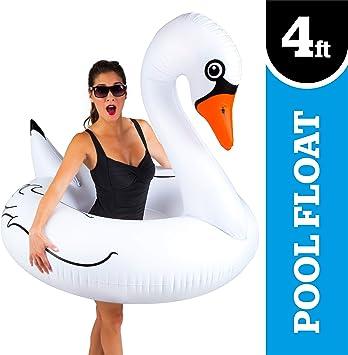 Amazon.com: Flotador de piscina con forma de cisne blanco ...