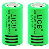 LiCB IMR 18350 Battery 2PCS 1500mAh Lithium Rechargeable 3.7V High Drain Flat Top