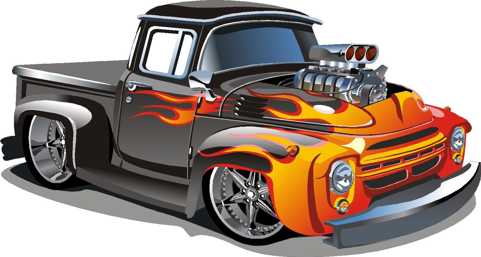 Hot rod kids removable / repositional wall vinyl sticker PEEL and STICK art (22''x41'')