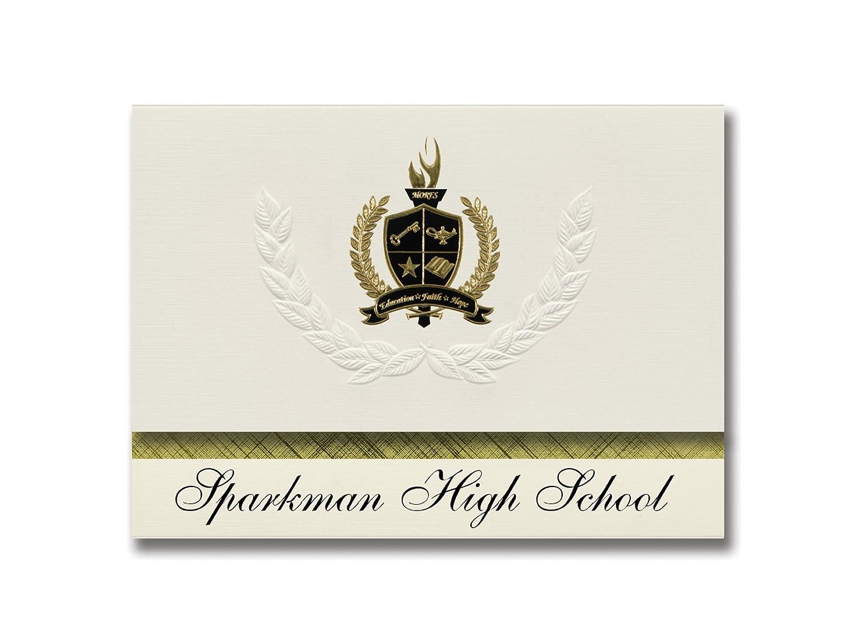 Signature Ankündigungen Sparkman High School (Sparkman, AR) Graduation Ankündigungen, Presidential Stil, Elite Paket 25 Stück mit Gold & Schwarz Metallic Folie Dichtung