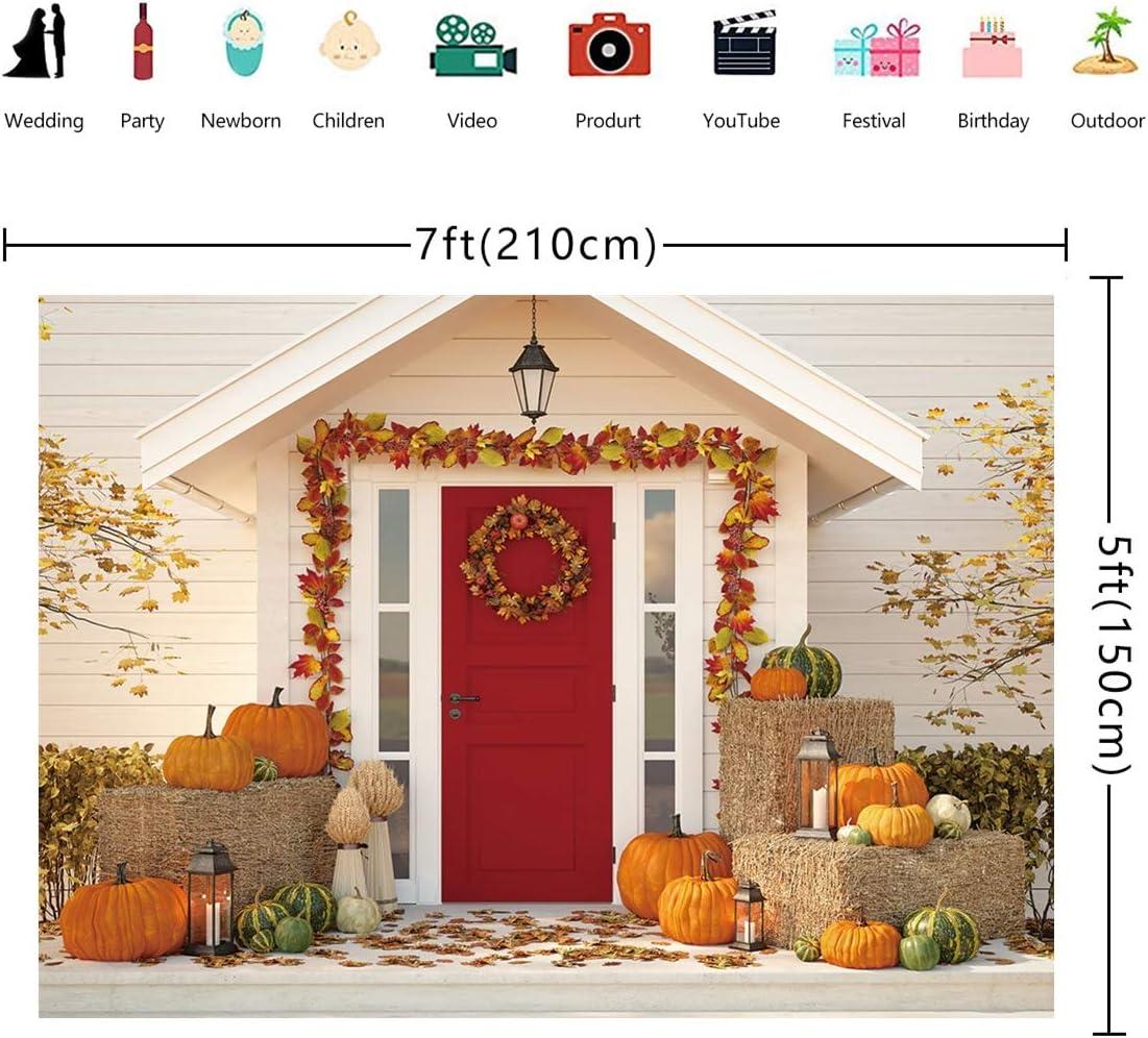 Fotupuul Autumn Thanksgiving Photography Backdrop Fall Rustic Red Door Decor Pumpkin Farm Leaves Landscape Photo Background 7x5FT