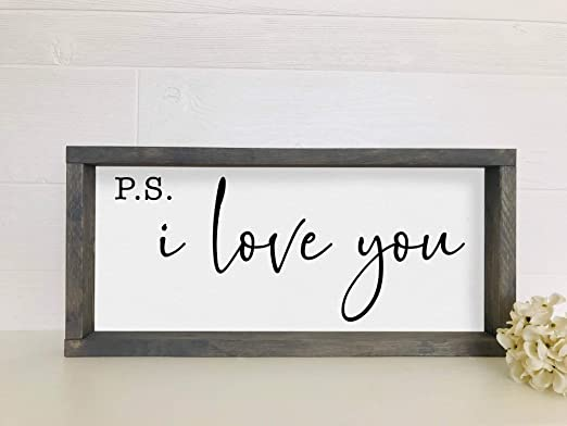 Amazon Com Silver8847 Ps I Love You Sign Inspirational Home Decor Signs Living Room Sign Ps I Love You Wood Sign Home Kitchen