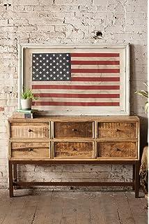 7cf8549e180f Kalalou Large Framed American Flag Under Glass Wall décor
