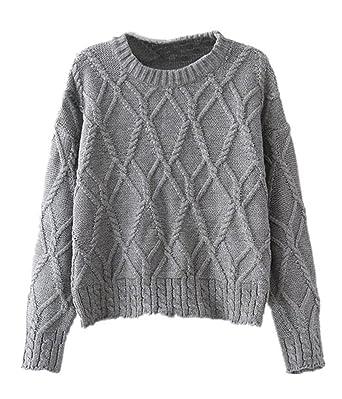 Sheinside® Damen Pullover mit Zopfmuster, grau