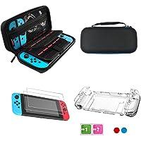 Lolo Nintendo Switch Accesorios Kit 4 En 1 Nintendo Switch Case + Estuche Transparente Nintendo Switch + 3X Protector de Pantalla + Protector de Palanca de Mando
