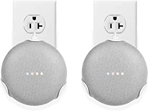 LANMU Wall Mount for Google Home Mini,Outlet Shelf Holder for Google Home Mini Smart Voice Assistants,Google Home Mini Space-Saving Accessories (2 Pack)